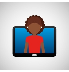 Tablet black technology and character afro woman vector
