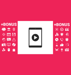 tablet with play button icon vector image