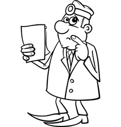 thinking doctor black and white cartoon vector image