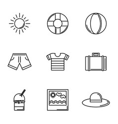 tourism travel time summer icons linear set vector image
