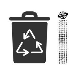 trash can icon with work bonus vector image