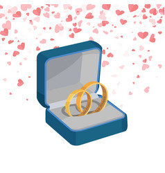 two engagement rings in box jewelry items vector image