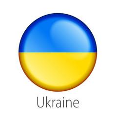 Ukraine round button flag vector
