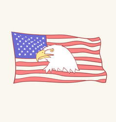Usa flag bald american eagle mascot icon vector