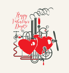 Valentine card with love factory and inscription vector