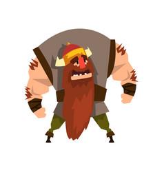 Viking warrior character in helmet with horns vector