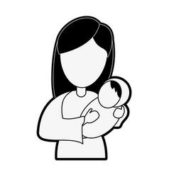 virgin mary holding baby jesus cartoon vector image