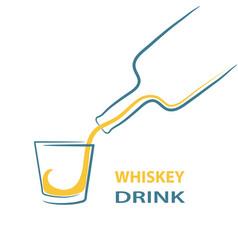 Whiskey glass bottle shot splash menu stock vector