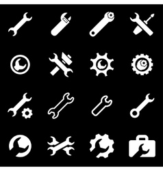 White settings wrench icon set vector