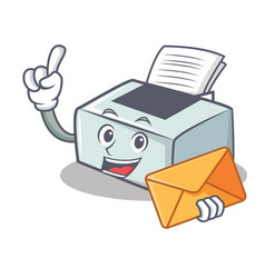 With envelope printer character cartoon style vector