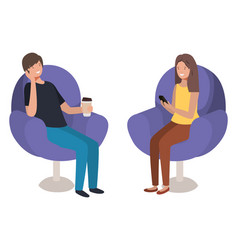 young couple using smartphone in sofa vector image