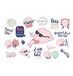 Brain stickers feed and leisure set vector image vector image