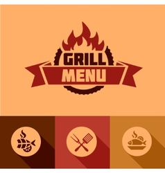 flat grill menu design elements vector image