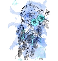 Indian dream catcher in a sketch style vector
