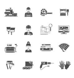 Interior design black icons set vector
