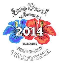 Long Beach surfing artwork vector image
