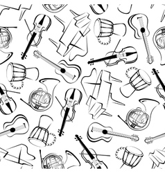 Music instruments art seamless pattern vector image vector image