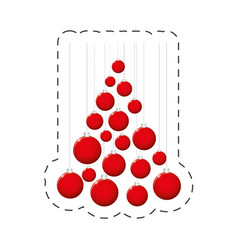 red balls christmas decoration vector image vector image