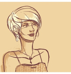 Sketch of woman portrait vector image vector image