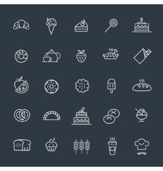Bakery pastry icons set - bread donut cake vector image vector image