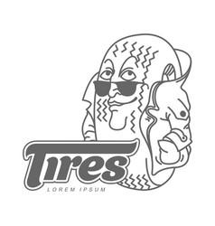 cartoon tires logo template vector image