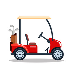 electric golf car with golf club bag vector image