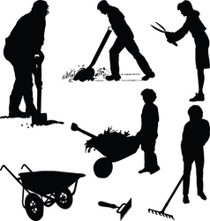 Gardeners and tools vector image