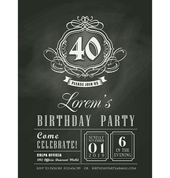 Anniversary birthday card chalkboard background vector image vector image