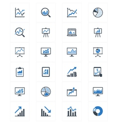 Business Graphs and Charts Icons - Blue Series vector image