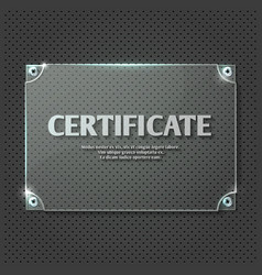 Certificate design on glass plate mockup vector image vector image