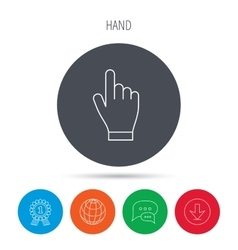 Click hand icon press or push pointer sign vector