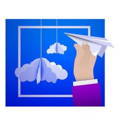 male hand holding a paper plane against the sky vector image vector image