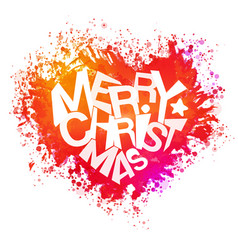merry christmas bright colors watercolor heart vector image vector image