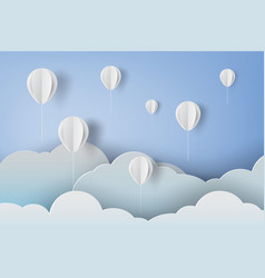 paper art of white ballons on blue sky background vector image