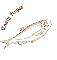 pencil hand drawn of fish with label tasty kipper vector image vector image