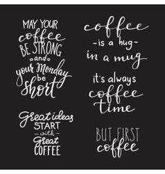 Quote coffee typography set vector image