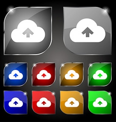 Upload from cloud icon sign Set of ten colorful vector image vector image