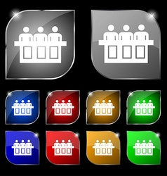 Conference icon sign set of ten colorful buttons vector
