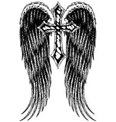 cross wing emblem vector image vector image