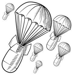 Doodle bombs parachute vector