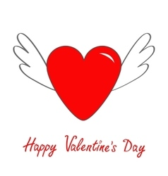 Happy Valentines Day Red heart with wings Cute vector image vector image
