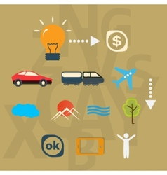 Set icons journey from idea to realization vector