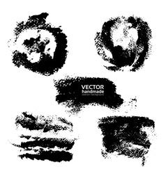 Set of prints and textured brush strokes paint vector