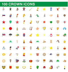 100 crown icons set cartoon style vector image