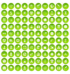 100 space technology icons set green circle vector