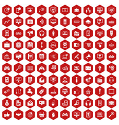 100 web and mobile icons hexagon red vector image