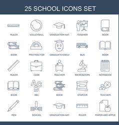 25 school icons vector
