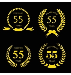 55 years Anniversary golden label vector