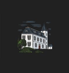 alcohol production plant cognac castle engraved vector image