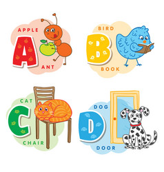 alphabet letter a b c d an ant bird cat dog vector image
